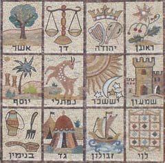 El mosaico representa los símbolos asociados con las doce tribus de Israel