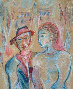 """Detail from """"Young Couple"""" by Chassidic artist Shoshannah Brombacher"""