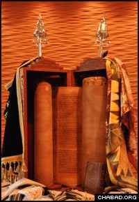 The Torah sits in a 400-year-old case.