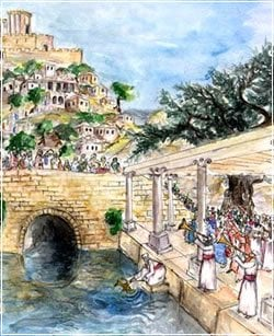 ניסוך המים. ציורה של דפנה לבנון