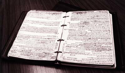 The Rebbe's binder with his handwritten notes, discovered following his passing in 1994