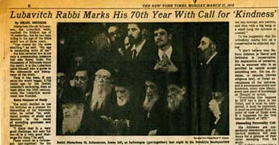 The New York Times: The Lubavitcher Rabbi Marks His 70th Year with Call for 'Kindness'