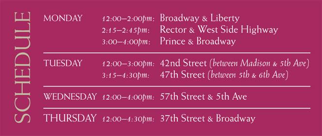 Mitzvah Tank Schedule
