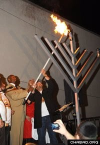 The Miami Heat's Jewish Heritage Night included a halftime menorah lighting outside the arena. (Photo: Mendy Bleier)
