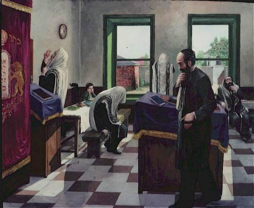 הכנות לתפילה בבית כנסת חסידי. ציורו של זלמן קליינמן