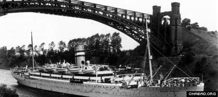 """Le """"Serpa Pinto"""" à bord duquel le Rabbi de Loubavitch et son épouse, la Rabbanit 'Haya Mouchka, arrivèrent sains et saufs aux Etats-Unis en 1941."""
