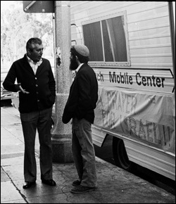 Conversation at the Chabad-Lubavitch Mitzvah Mobile on Fairfax Avenue in Los Angeles, California (photo illustration courtesy of Lubavitch Archives).