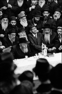 """A """"farbrengen"""" with the Rebbe in the 1960's. (Photo: Lubavitch Archives)"""