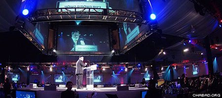 British Chief Rabbi Lord Jonathan Sacks addresses the gala banquet of the 28th annual International Conference of Chabad-Lubavitch Emissaries at the Brooklyn Cruise Terminal in New York.