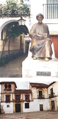 Cordova, Spain: Maimonides Square; above, monument honoring the Rambam