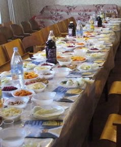 The Seder table is set.