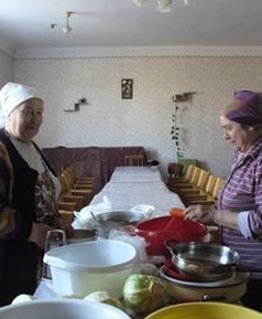 Local women cook for the Seder.