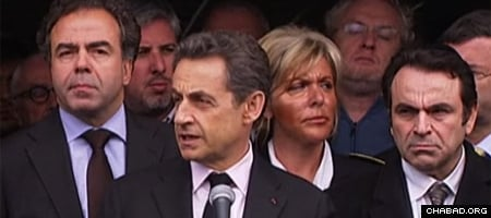 French President Nicolas Sarkozy addresses reporters after visiting the Ozar Hatorah high school in Toulouse.