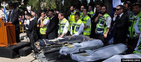 The bodies of Rabbi Jonathan Sandler, two of his sons and the daughter of the Ozar Hatorah high school await burial in Jerusalem two days after a suspected Al Qaeda-trained gunman opened fire outside the Toulouse, France, educational institution. (Photo: ZAKA Israel)