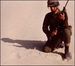 As an IDF volunteer in the Sinai Desert.