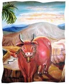 רישום אמנותי של הפרה האדומה. © אהובה קליין