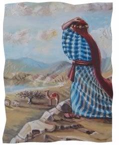 """משה צופה על הארץ המוובטחת. © אהובה קליין - ציורי התנ""""ך"""