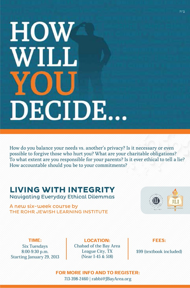 JLI Course: Living With Integrity Flyer