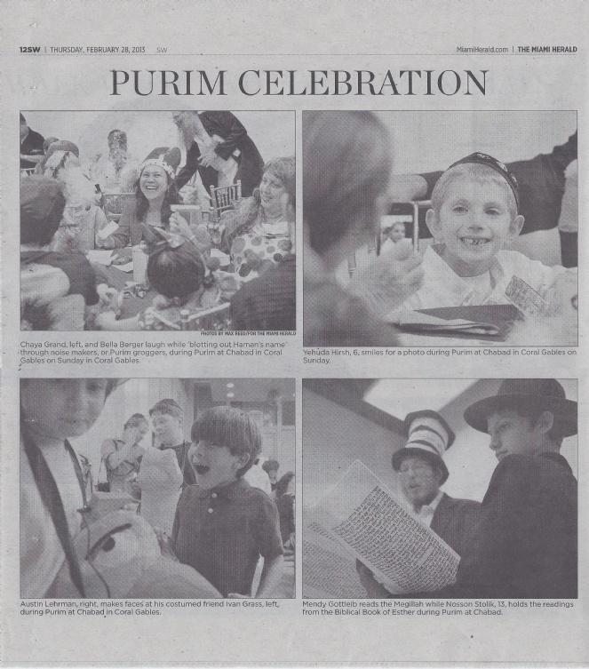 Purim 2013 in the Herald