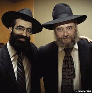 Rabbi Binyomin Bitton (left) with Rabbi Lipa Dubrawsky. (Photo: Noam Dehan)