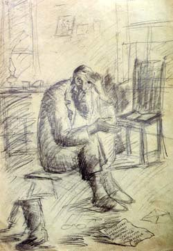 """""""In Mourning"""" by Chassidic artist Hendel Lieberman. Pencil, 1950's"""