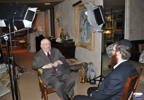 Rabbi Solomon Trau being interviewed by JEM