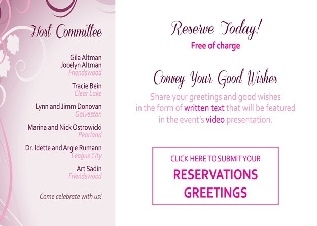 Click here to RESERVE or submit your GREETINGS!