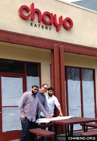 Levi Chayo, Chip Herwegh and Abe Chayo in front of Redondo Beach's first kosher restaurant.