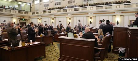 The Oklahoma House of Representatives gave a standing ovation Thursday on behalf of Jewish support from around the country in the wake of the devastating tornado that struck their state.