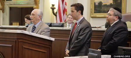 Oklahoma legislator Paul Wesselhoft introduces New York State Assemblyman Phillip Goldfeder and Rabbi Ovadia Goldman to the Oklahoma House of Representatives.