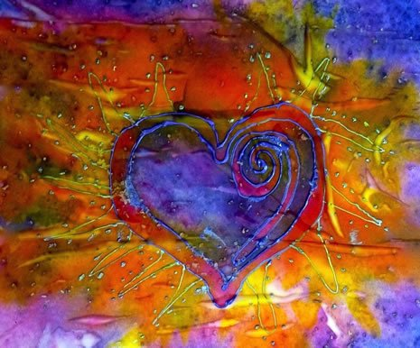 Paint and Salt on Stretched Silk