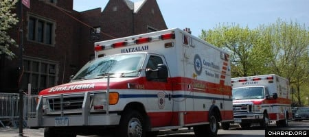 The Crown Heights Hatzalah ambulance is usually seen parked outside the main synagogue at 770 Eastern Parkway.
