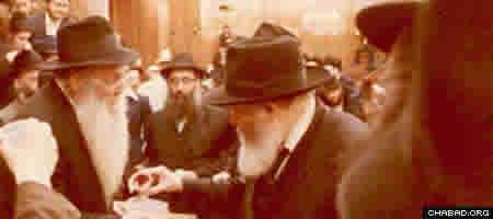 "Rabbi Yehudah Leib (""Reb Leibel"") Bistritzky with the Rebbe."