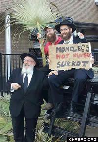 Rabbi Chaim Lazaroff, right, with Rabbi Shimon Lazaroff, regional director of Chabad Lubavitch of Texas, left, and Rabbi Mendel Traxler, program director of Chabad Outreach of Houston.