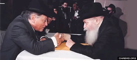 "Shmuel (""Sami"") Rohr with the Lubavitcher Rebbe, Rabbi Menachem M. Schneerson, of righeous memory."