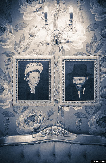 Photos of Rebbetzin Chaya Mushka and the Rebbe, Rabbi Menachem M. Schneerson, in the Warsaw mikvah.(Photo: Clifford Lester)