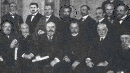 Circled from left to right: Mazeh, Chein and Sliozberg at the rabbinic conference in 1910.