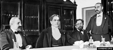 Four members of the defense team. From left to right; Dmitry Grigorovich-Barsky, one of the most prominent attorneys in Kiev; Nikolay Karabchevsky, chairman of the St. Petersburg Council of Barristers; Oscar Gruzenberg, nominal leader of the defense and the only Jew on the team; and Alexander Zarudny, a prominent liberal lawyer and politician who served as Minister of Justice in the Provisional Government of 1917.
