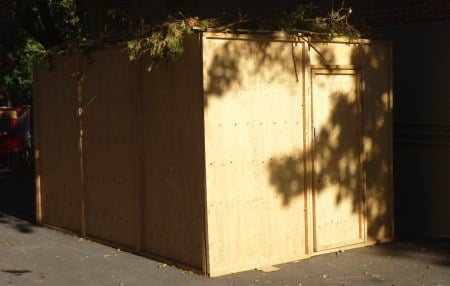 """Our plywood and pine """"home"""" for over a week."""