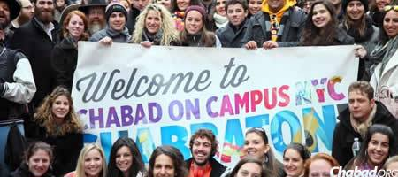 Student celebrate their arrival at the annual Chabad on Campus International Shabbaton, an educational and leadership conference in New York. (Photo: Bentzi Sasson/Chabad.edu)