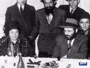 The Rebbe with, his mother, Rebbetzin Chana, in Paris, 1947
