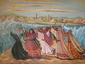 קריעת ים סוף. ציור: אהובה קליין ©