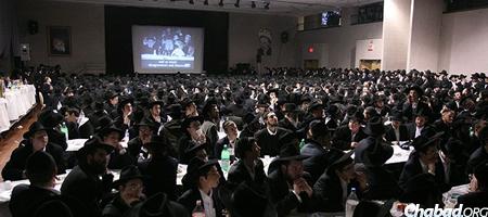 Students at a previous Yud Shevat gathering at Beth Rivkah hall in Brooklyn, N.Y.