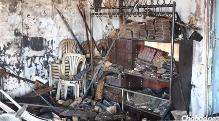 Facing the charred reality of the synagogue's current state, Kofman hopes to gain strength from the fire's devastation and double down in his efforts for the area's thousands of Jews.