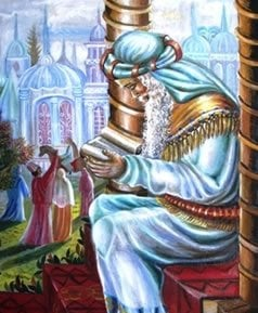 Mordechai at the gates of Shushan. © Ahuva Klein