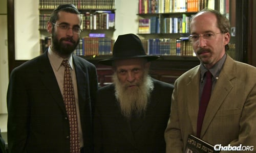 Rabbi Levi Haskelevich and Reb Mottel with Benjamin Nathans, professor of history at the University of Pennsylvania.