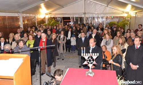 Public events like the menorah-lighting above are magnets for Portugal's Jewish community.