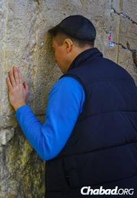 Misha Shushpannikov of Moscow prays at the Western Wall in Jerusalem.