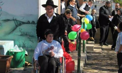 Mendel was greeted with joy after his school became wheelchair-accessible