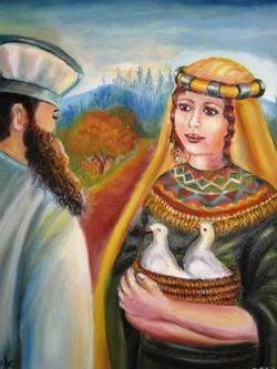 """רישום אמנותי של הליך ההיטהרות מן הצרעת. ציורה של אהובה קליין / ציורי התנ""""ך ©"""